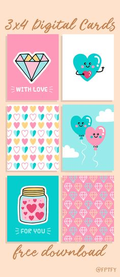 Free Printable Cute Love 34 Journal Cards from Free Pretty Things For You Free Printable Cards, Printable Stickers, Printable Paper, Planner Stickers, Free Printables, Printable Valentine Cards, Project Life Freebies, Project Life Cards, Art Birthday