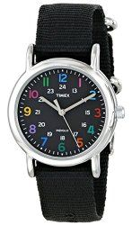 """Timex Women's T2N869 """"Weekender"""" Watch with Black Nylon Band"""