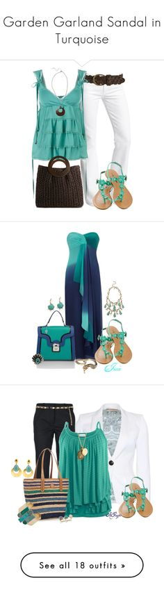 """Garden Garland Sandal in Turquoise"" by outfitideasbook ❤ liked on Polyvore featuring Citizens of Humanity, Forever 21, Fornarina, Kelly & Katie, Fat Face, Betsey Johnson, Melie Bianco, Oscar de la Renta, Blue Nile and Alkemie"