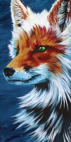 Colourful painting of a fox, woodland animal, Danny's by DannysStuff15
