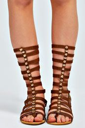 Emma Calf High Studded Cage Gladiator