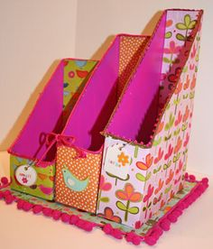 Budget Scrap Paper Organizers - embellishing store-bought magazine holders with scrapbook paper and ribbons