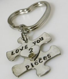 Hand stamped-love you 2 pieces-puzzle by TaylordMetals on Etsy
