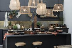 Industrial Chic Decor, Soup Plating, Hessian, Style Retro, Organic Shapes, Acacia Wood, Rustic Kitchen, Pendant Lamp, Rustic Kitchens