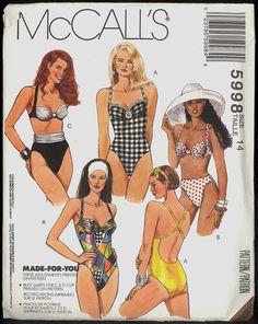 Uncut 1990s Size 14 Bust 36 Swimsuit Stretch Knit McCalls