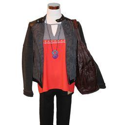 Theme 2 tone tank, Free People Jacquard Vegan Moto Jacket, Veronica Riley Martens necklace, Frye Artisan Hobo and leggings