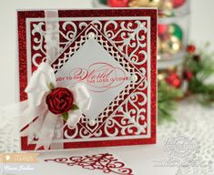 Christmas Card Making Ideas by Becca Feeken Using Waltzingmouse Stamps Season Flourish and Spellbinders