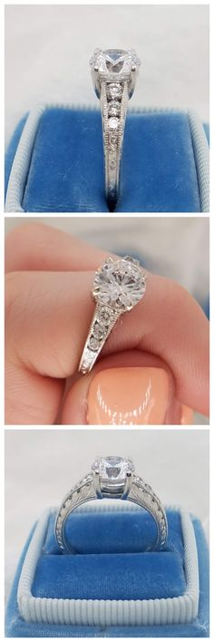 Modena is a lustrous design featuring a 1.00 carat round diamond center stone. The six side stones graduate in size creating a delicate taper. The top and sides of the band are richly detailed with intricate hand engraved patterns. The edges are textured with milgrain for a refined finish. This design can be made for any type, shape, or size center stone. Contemporary Engagement Rings, Thing 1, Hand Engraving, Unique Rings, Round Diamonds, Delicate, Stones, Texture, Shape