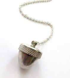 The little cap on this acorn opens so you can tuck secret messages and other treasures inside. Cute! :: Acorn Sterling Silver Locket