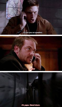 [gifset] 9x21 King Of The Damned #SPN #Dean #Crowley Click through, there's some interesting reading, though no one mentions the fact that Crowley has a hell hound named Juliet(which amuses me to no end.).