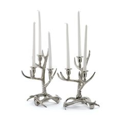 Set of Two Silver Wrapped Antler Candelabras
