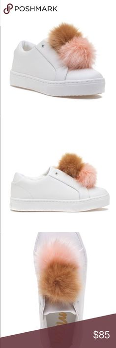 HP! GONE END OF DAY! SAM EDELMAN PINK TAN SNEAKERS HOST PICK 10/1 - SIMPLY CHIC PARTY! BUY TODAY (10/2) OR by the end of the day they will be GONE!! BRAND NEW IN BOX! SAM EDELMAN LEYA LEATHER WITH PINK AND TAN FAUX FUR POM POM ATHLETIC SHOES SNEAKERS!  Poms on everything are all the rage! Rock the pom pom trend in the Leya by Sam Edelman. Pair the Leya with denim and an oversized sweater to complete the look. Leather upper Pink and Tan Faux fur pom pom Sam Edelman Shoes Sneakers