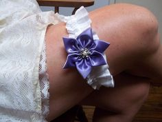 Lavender and White Satin Bridal Garter Set by AllAHeartDesires, $42.00