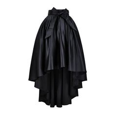 Hi-lo Prom Maxi Skirt in Black (Available around April) ($73) ❤ liked on Polyvore featuring skirts, bottoms, short in front long in back skirt, long skirts, black hi low skirt, ankle length black skirt and black high low skirt