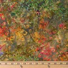 Olive & Multi Color Headdress Batik Fabric