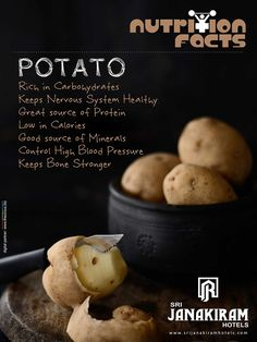 Nutrition Facts! Potato - rich in taste & at the same time provides you many nutritional benefits. Lets know some healthy info about it. ‪#‎srijanakiram‬ ‪#‎Potato‬ ‪#‎nutritionalfacts‬