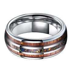 Bifrost (Bifröst) is the rainbow bridge that connects Asgard, the realm of the Gods; with Midgard, the world of humanity. Bifrost is guarded by the ever-vigilant god Heimdall. This ring is made of Tungsten Carbide, a highly resistant alloy made of equal parts of Tungsten and Carbon. The inlay is made with genuine Blue Opal stone, bringing the bright iridescence of Bifröst to the ring. The exterior of the ring is coated in resin to protect the stone and wood inlays.