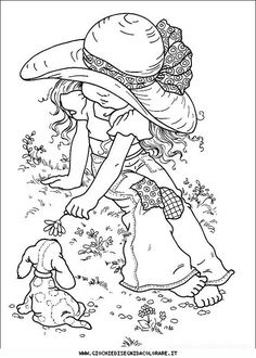 Sarah Kay Coloring Pages - Educational Fun Kids Coloring Pages and Preschool Skills Worksheets Coloring Book Pages, Printable Coloring Pages, Coloring Sheets, Free Coloring, Coloring Pages For Kids, Kids Coloring, Sara Kay, Holly Hobbie, Digital Stamps