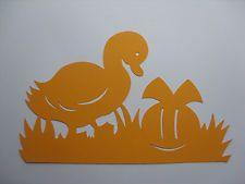 Fensterbild Ostern    Ente m. Osterei    Tonkarton orange  filigran 30 cm TOP