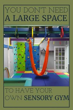 This wonderfully custom designed piece of sensory equipment is used by occupational therapists and parents. Children love our indoor sensory gyms! Kids Indoor Gym, Indoor Jungle Gym, Indoor Playroom, Kids Indoor Playground, Playground Ideas, Basement Play Area, Kids Basement, Unfinished Basement Playroom, Garage Playroom