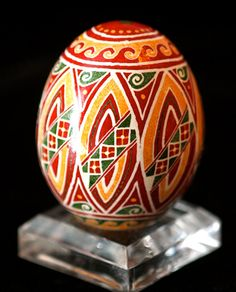 Traditional Horizontal Band Shield Pattern on Chicken Eggshell Pysanky Ukrainian Egg. $53.00, via Etsy.
