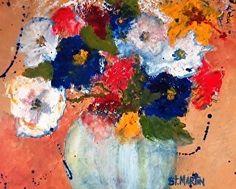 "Flashing Primaries by Annie St Martin Oil ~ 8"" x 10""-Abstract Still Life Flower Art Painting ""Flashing Primaries"" by Florida Impressionism Artist Annie St Martin"