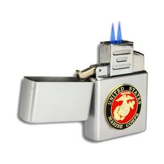 Double Flame Butane Torch Lighter With Marine Emblem (200 ARS) ❤ liked on Polyvore featuring home, home improvement, home & living and silver
