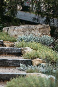 Sloped Backyard, Backyard Plants, Sloped Garden, Australian Garden Design, Australian Native Garden, Coastal Gardens, Beach Gardens, Outdoor Stairs, Outdoor Rooms