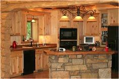 Rustic One Wall Kitchen with Stone Island One Wall Kitchen, Kitchen Set Up, Country Kitchen, Mini Kitchen, Rustic Kitchen, Kitchen Ideas, Log Cabin Kitchens, Cottage Kitchens, Stone Kitchen Island