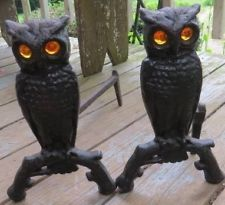Original Cast Iron Metal Owl Fireplace Andiron Amber Blown Glass Eye Arts Crafts