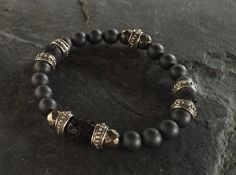 Bracelet - Silver Roundel & Hematite w Lava Beads BY ROMAN PAUL #romanpaul