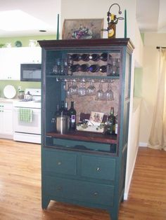 TV Armoire becomes a bar --