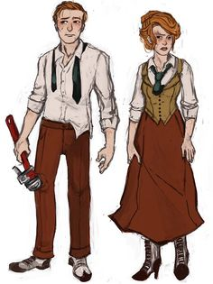 Bioshock Infinite fanart. The Lutece twins fighting in Rapture. I love the addition of the wrench! Haha!