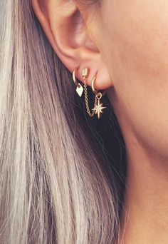 Gold Ear Jackets + Gray Sparkly Spikes - gold ear jacket/ ear jacket spike/ ear jacket gold/ ear jacket earring/ ear cuff/ gifts for her - Fine Jewelry Ideas, Diy Abschnitt, Cute Earrings, Beautiful Earrings, Statement Earrings, Chain Earrings, Star Necklace, Gold Necklace, Gemstone Necklace, Earings Gold, Gold Plated Necklace