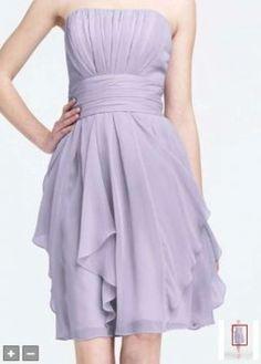 David's Bridal Malibu Blue Strapless Chiffon Dress With Layered Skirt Dress $77