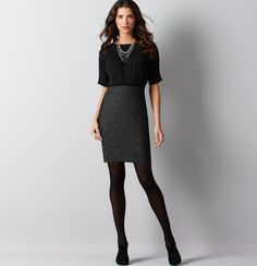 Cute idea for work outfit. Black blouse over charcoal pencil skirt, and black opaque leggings