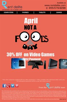 RentDelite offers #aprilfoolsday2016 Sale! Get 30% Off on Video Games  #xboxone   #nintendo  #Sonyplaystation #videogames  #wiiu #ps4