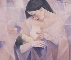 Mother and Child, 1981 - Vicente Manansala Van Gogh Pinturas, Mother And Child Painting, Filipino Art, Philippine Art, Simple Acrylic Paintings, Madonna And Child, Vintage Artwork, Artists Like, Pictures To Draw