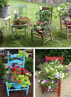 transformed into planters - .- Sillas transformadas en jardineras – Chairs transformed into planters – - transformed into planters - .- Sillas transformadas en jardineras – Chairs transformed into planters – - Garden Yard Ideas, Diy Garden, Garden Planters, Garden Projects, Garden Art, Diy Planters, Planter Ideas, Spring Garden, Recycled Planters