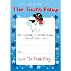 A certificate from the tooth fairy for a child who has lost his or boys tooth fairy certificates pronofoot35fo Choice Image