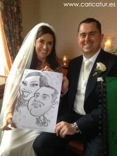 Wedding Caricatures in the Radisson Hotel Cork!  The happy couple with their caricature!  Here's a few caricatures from a re... Bride and groom caricature by Allan Cavanagh  #caricatures #weddings