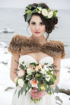 Winter Wedding Ideas - Winter Wedding Hairstyle with Floral Crown