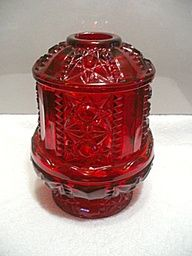 Depression glass ruby red fairy lamp