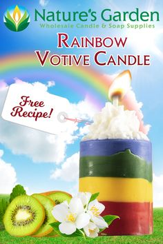Free Rainbow Votive Candle Recipe by Natures Garden Diy Beauty Projects, Diy Craft Projects, Craft Ideas, Candle Making Supplies, Soap Making Supplies, Homemade Candles, Votive Candles, Shot Glass Mold, Garden Candles