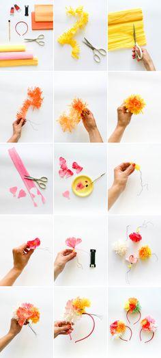 DIY Tissue Paper Flower Headband