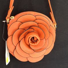 NWTFlower Cross Body Purse Gorgeous! Faux leather, two removable straps - short & long. 7x7. Awesome terra cotta brown color!  Buona Bags Crossbody Bags