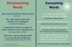 Gentle, healthy parenting - communicating - connecting words to use vs disconnecting words.