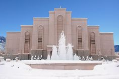 It is rare to have snow in New Mexico. I love the fountain and what it represents. Living Water, Christ's teachings. Albuquerque New Mexico Temple.