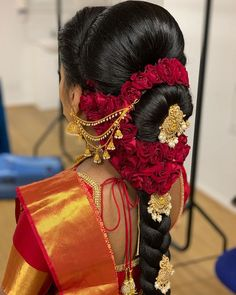 Wedding Reception Hairstyles, South Indian Wedding Hairstyles, Bridal Hairstyle Indian Wedding, Bridal Hair Buns, Bridal Hairdo, Indian Bridal Fashion, Short Wedding Hair, Wedding Hairstyles For Long Hair, Indian Hairstyles