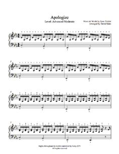 Apologize by One Republic Piano Sheet Music | Advanced Level